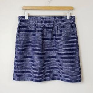 Ann Taylor LOFT Navy Blue and White Striped Skirt